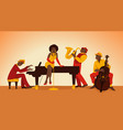 musician cartoon jazz band persons perform vector image