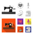 needle and thread sewing machine pincushion vector image vector image