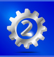 number 2 silver gear vector image vector image