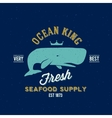 Ocean King Seafood Supplyer Retro Label or vector image vector image