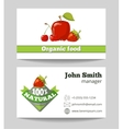 Organic food shop business card template vector image