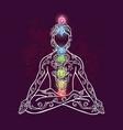 ornamental man in a yoga pose vector image vector image
