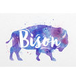 Painted animals bison vector image
