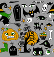 pattern halloween element patches pumpkin vector image