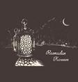 ramadan celebration engraved drawn vector image