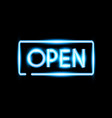 realistic open neon sign banner vector image