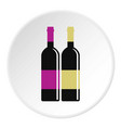 red and white wine bottles icon circle vector image