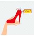 Red shoe presentation for sale vector image vector image