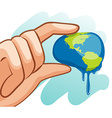 Save water theme with hand squeezing earth vector image vector image