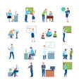 school college teacher flat icons vector image