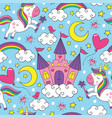 seamless pattern with unicorn and castle vector image vector image