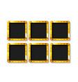set 6 gold frames vector image