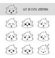 set of 10 linear funny cavy emoticons vector image vector image