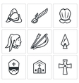 Set of Spanish Conquistador Icons Helmet vector image vector image