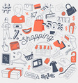 shopping sale freehand doodle with clothes vector image