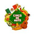 sombrero guitar and maracas cinco de mayo party vector image vector image