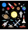 Space icons in flat style vector image
