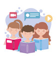 stay at home young people with books video call vector image vector image