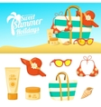 Summer background and icons vector image vector image