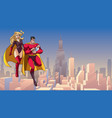 super dad mom and baby in city vector image