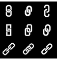 white chain or link icon set vector image