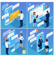 young people making social network comments vector image vector image