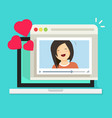 online remote dating on laptop video communication vector image