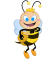 Drooling Bee Holds Honey Jar vector image