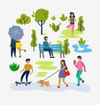 various people at park outdoor activities vector image