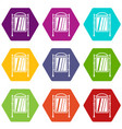 advertising sign icon set color hexahedron vector image vector image