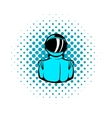 Astronaut in spacesuit icon comics style vector image