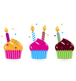 Birthday cakes collection isolated on white vector image