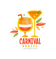 brazil carnival logo design bright festive party vector image vector image