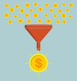 business concept funnel converting small coins vector image
