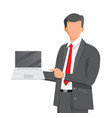 business man holding laptop and pointing finger vector image vector image