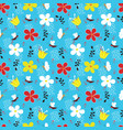 butterflies bees and flowers seamless pattern vector image vector image