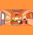 camping rv trailer car interior with unmade bed vector image