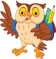 cartoon owl with backpack vector image vector image