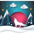 cartoon paper landscape wolf merry vector image vector image