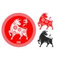 chinese zodiac symbol ox vector image vector image