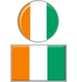 Cote d Ivoire round and square icon flag vector image