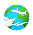 cruise ship and airplane travel symbol vector image