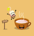 cute cartoon cup of tea with happy tea bag vector image