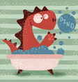 cute dino wash in bathroom vector image