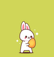 cute rabbit holding egg happy easter bunny sticker vector image