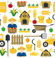 farmer background pattern farming elements and vector image vector image