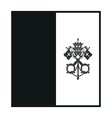 Flag of Vatican monochrome on white background vector image
