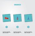 flat icons coliseum london paris and other vector image vector image