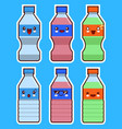 funny bottle of water and soda kawaii face set vector image vector image