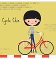 Girl with bicycle in the city vector image vector image